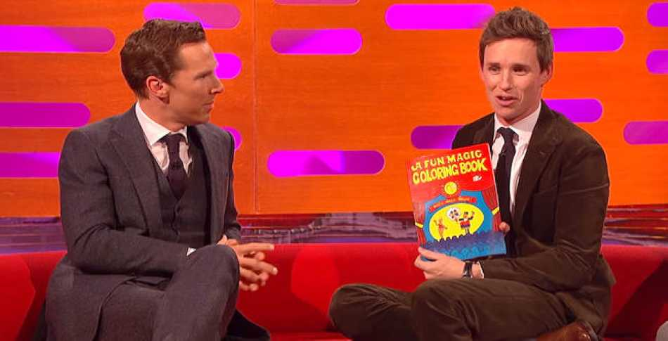Eddie Redmayne demonstrates a Magic Colouring Book on The Graham Norton Show.