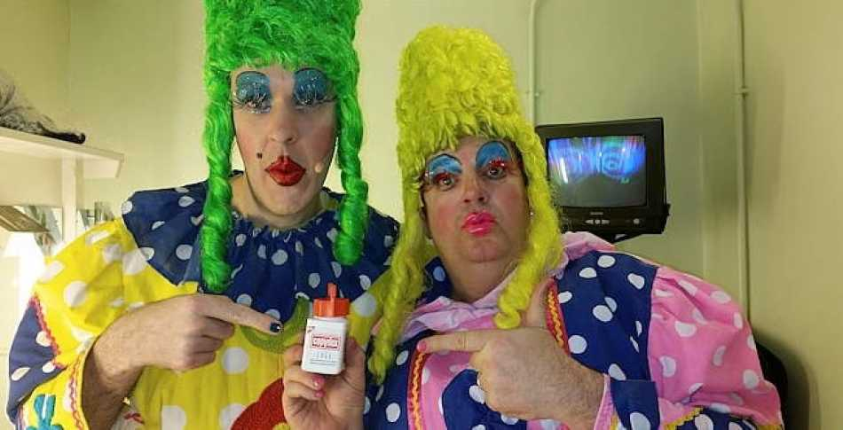 My panto partner in crime Phil introduces me to the solution to keeping my false eyelashes on!